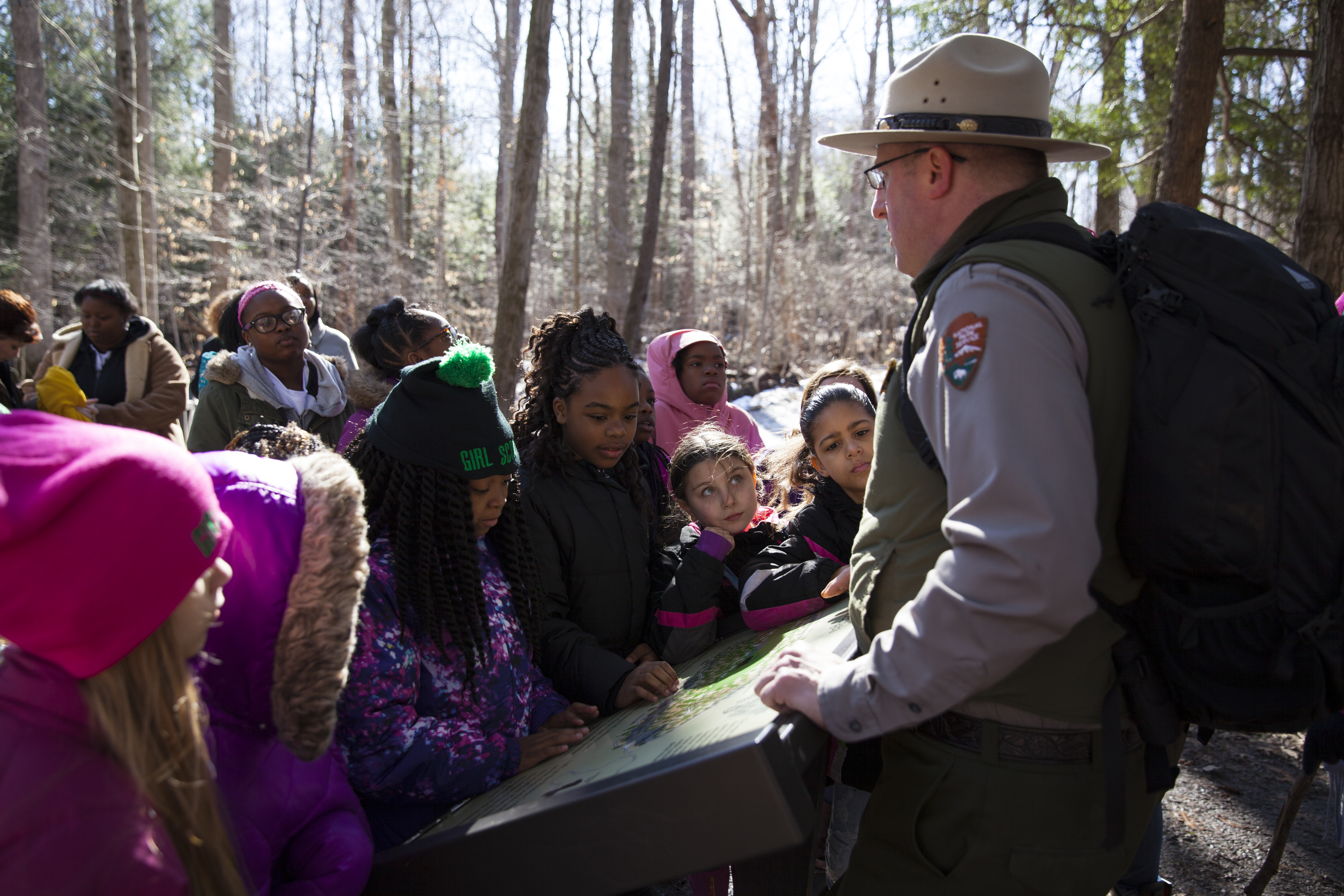 Girl Scouts learn from a Park Ranger at Cuyahoga Valley National Park.