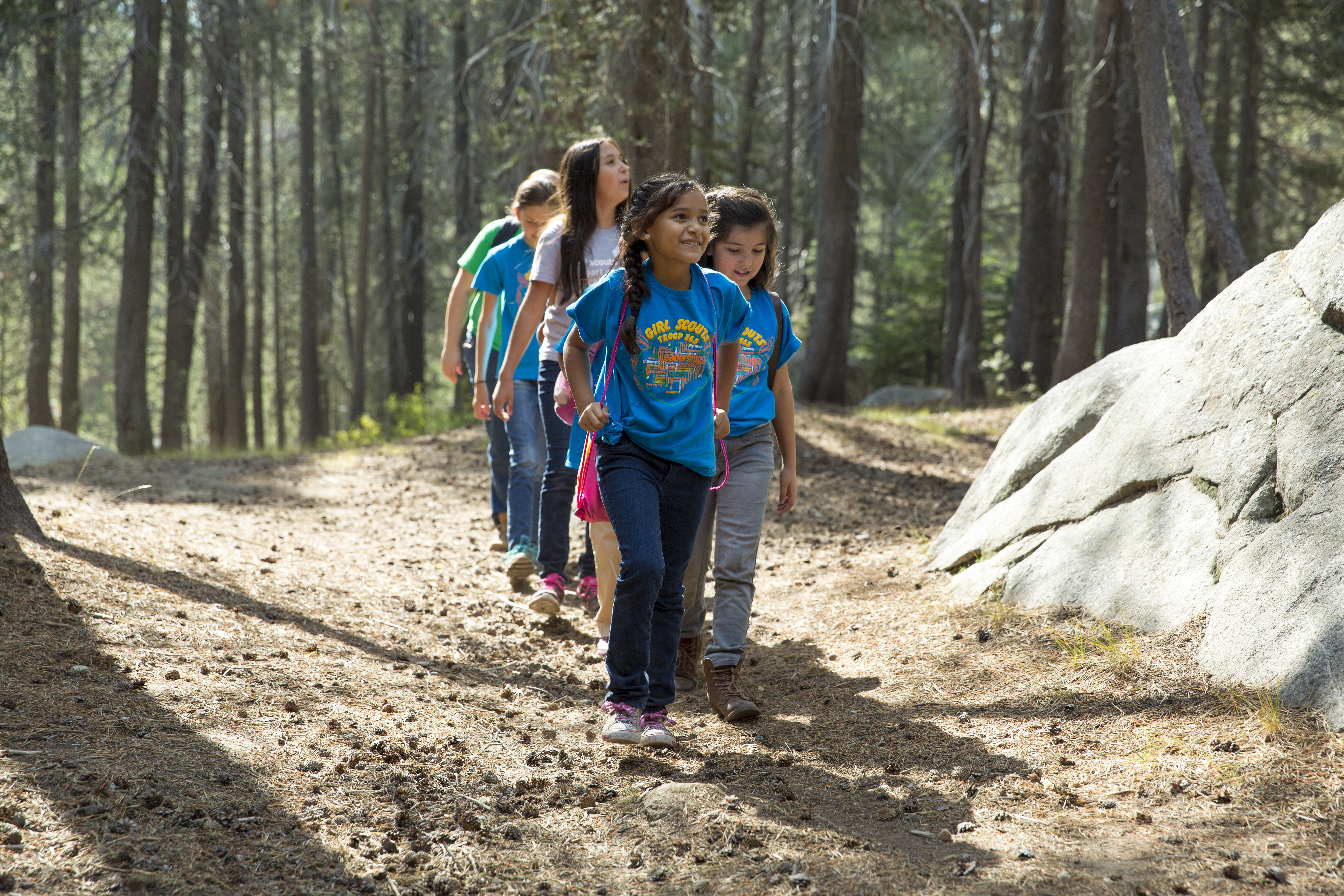 Girls hike at Yosemite National Park.