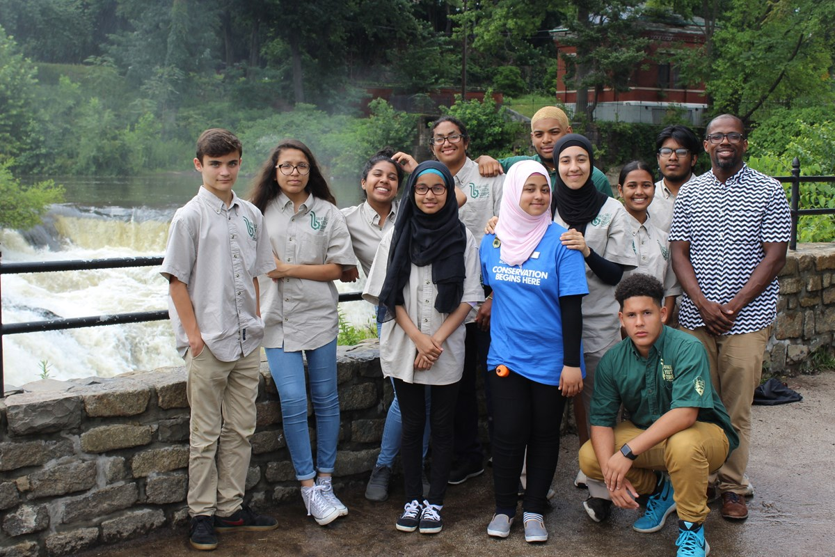 Youth Corps members by the falls