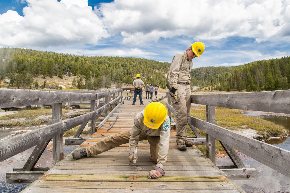YCC crew work to repair bridge