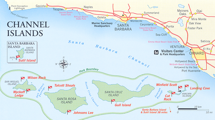 Diving California Channel Islands Dive Site Map Channel Islands