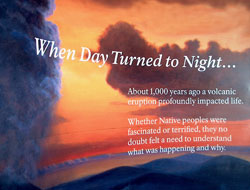 Exhibit panel titled When Day Turned to Night, with graphics of eruption