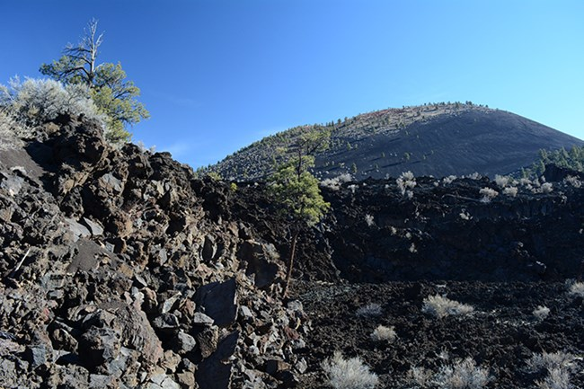 rough craggy black lava covers the land with a volcanic cinder cone in the background beneath clear blue skies