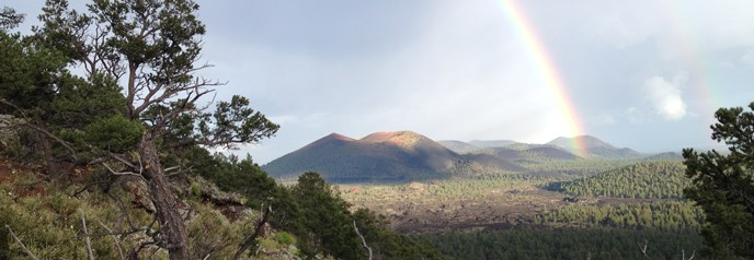 Rainbow over Sunset Crater Volcano