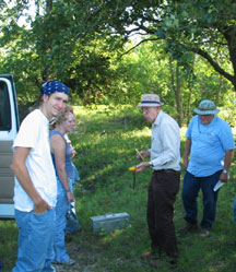 Volunteers getting ready to collect seeds in the prairie