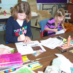 Fourth grade students work on their quilt blocks.