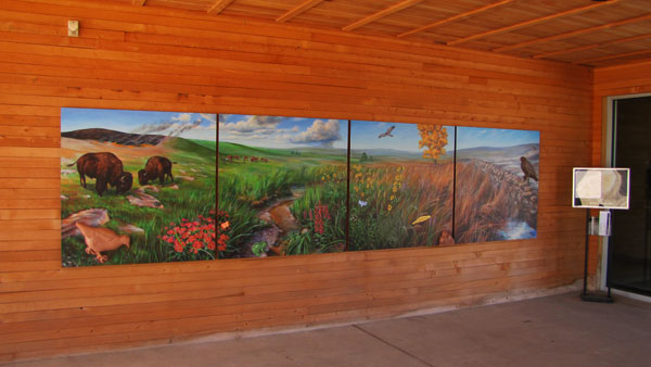 tactile mural in breezeway of visitor center