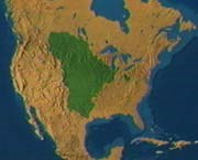 The extent of the vast prairie interior of North America