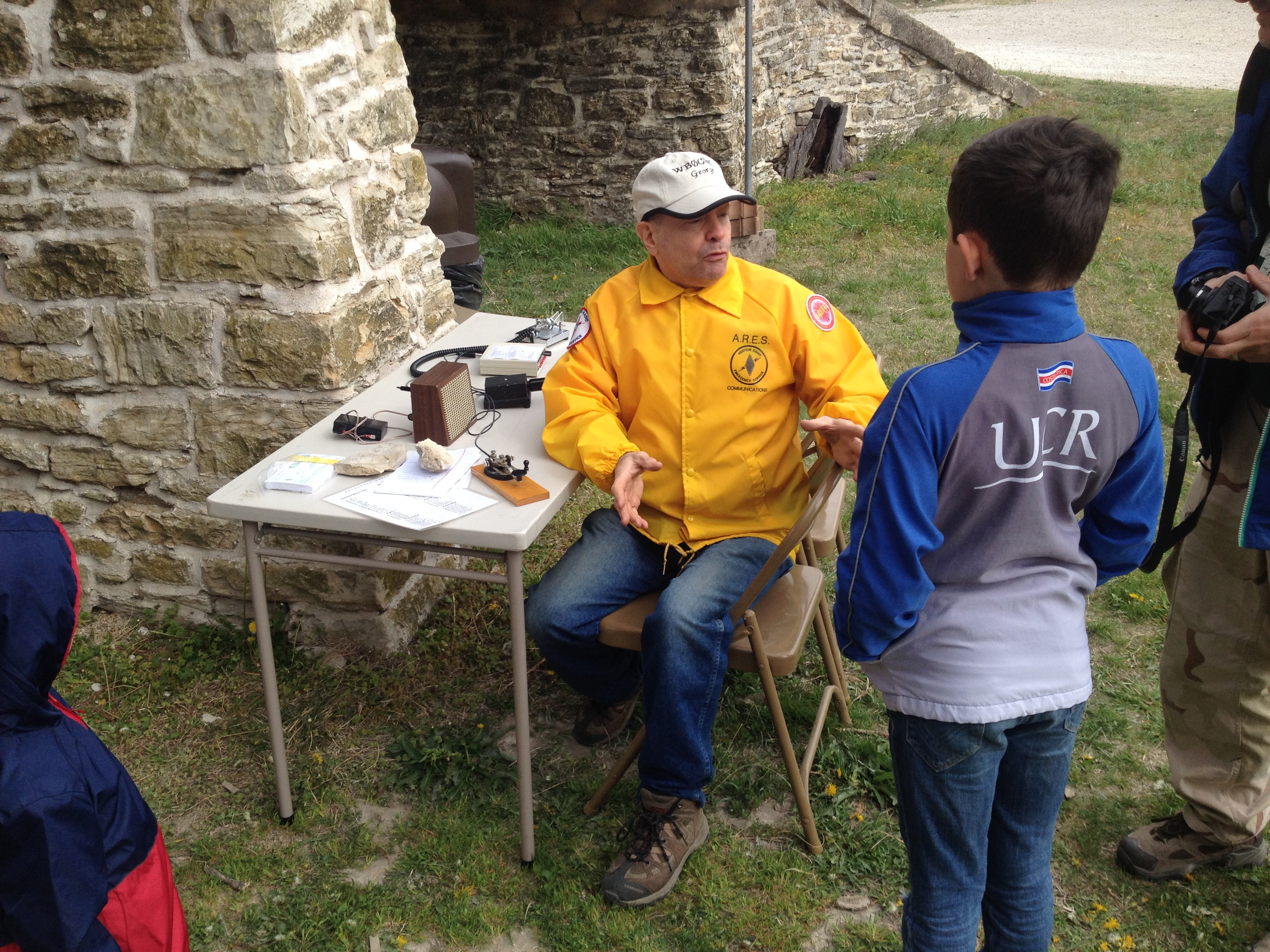 Kids learning about Morse Code and HAM radio technology during the Junior Ranger Day program