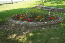 fountain converted to flower bed