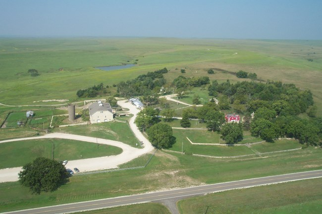 aerial image of the historic ranch site