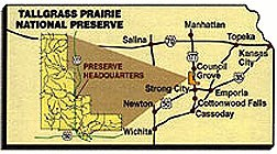 Map of Kansas showing preserve location.