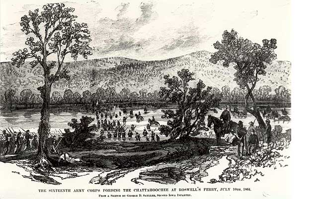 The Sixteenth Army Corps Fording the Chattahoochee at Roswell's Ferry, July 19th, 1864.