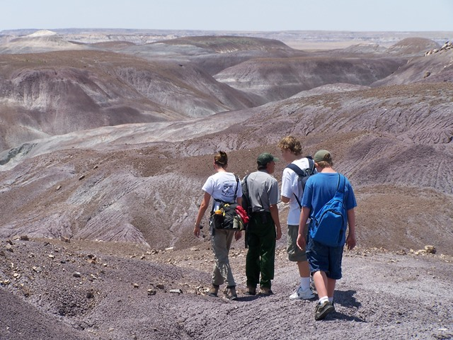 Students Hike in the Badlands