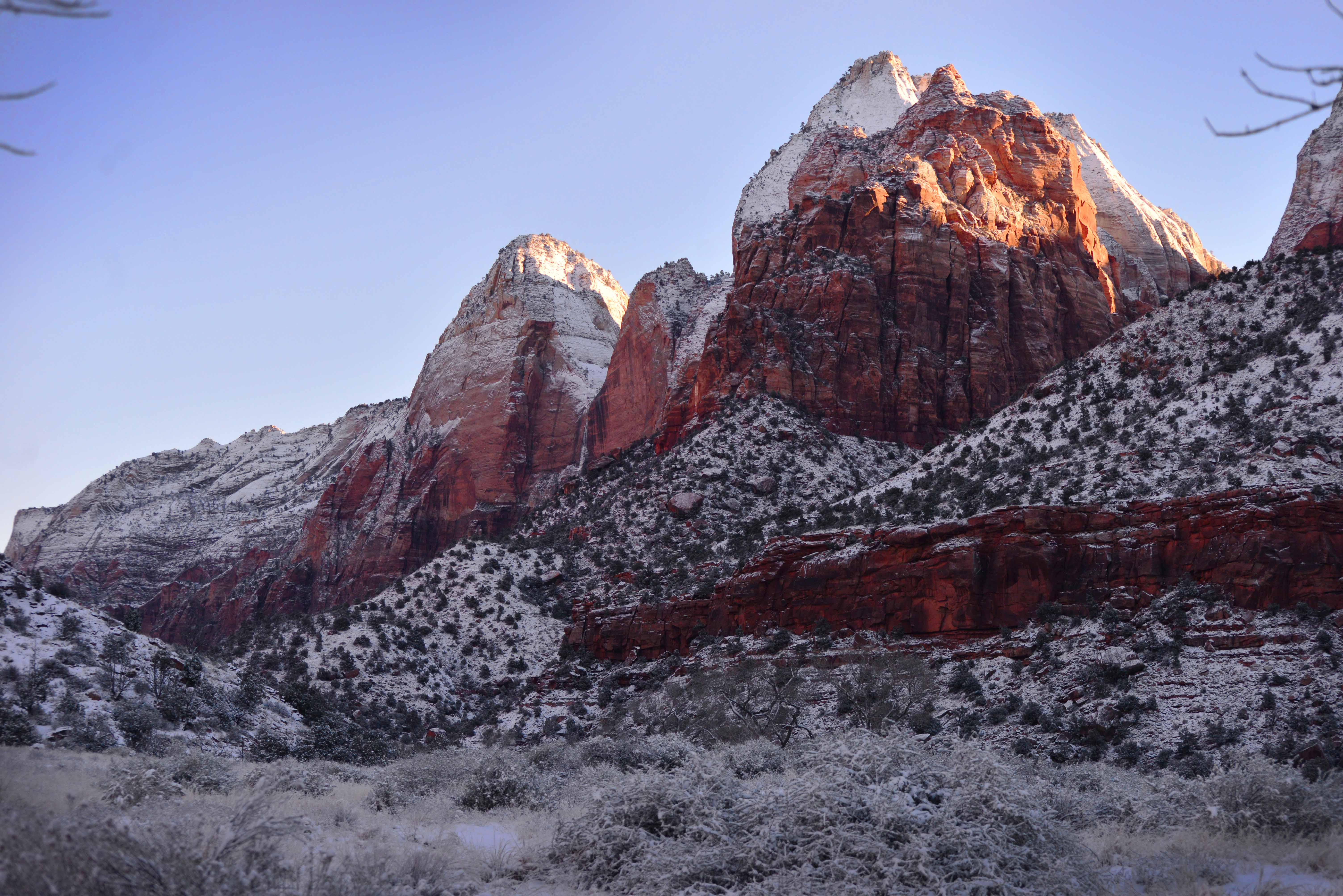 Zion Canyon in winter