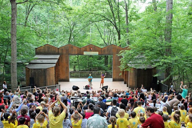 Mister G performs at Wolf Trap Children's Theatre in the Woods.