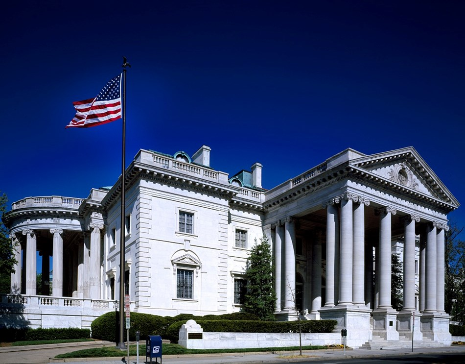 Exterior of Constitution Hall in Neoclassical style, made of limestone. Photo circa 1980s.