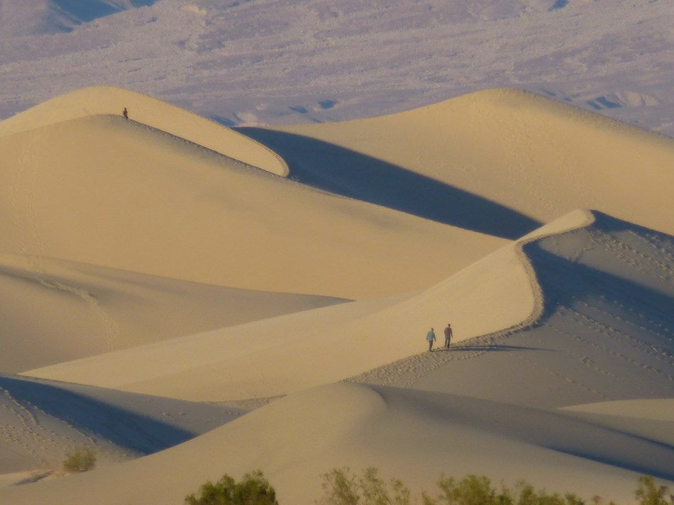 Large sand dunes with hikers and distant desert mountains.