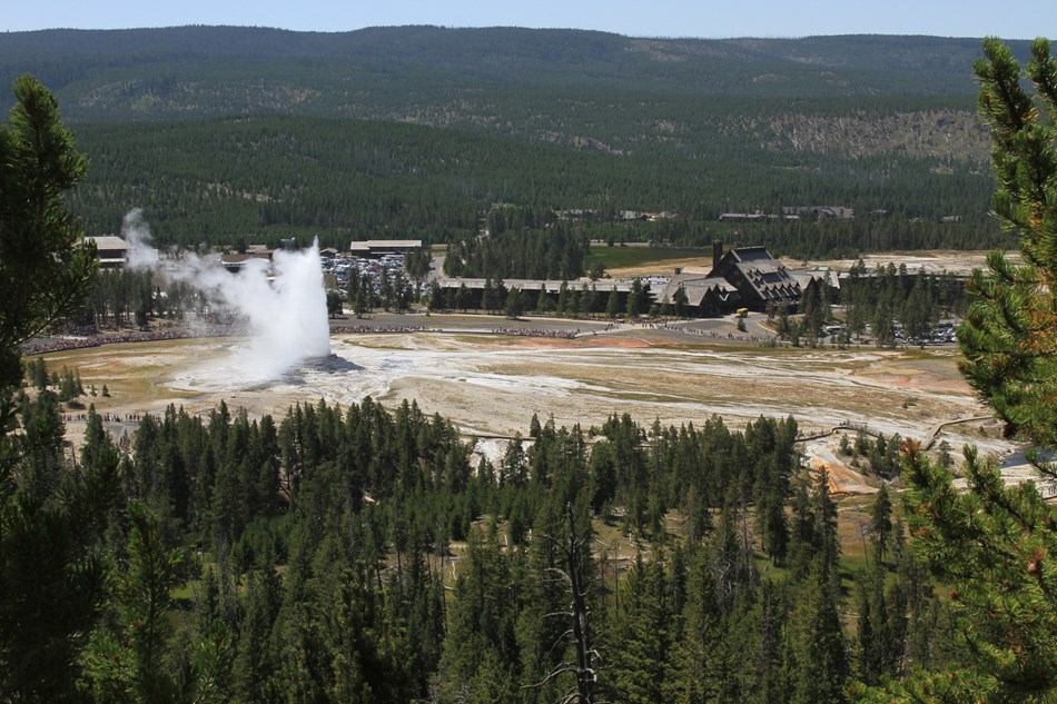 Aerial view of Old Faithful Geyser and the surrounding facilities