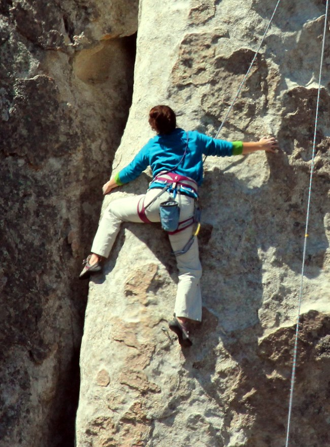 Picture of climber on granite wall.