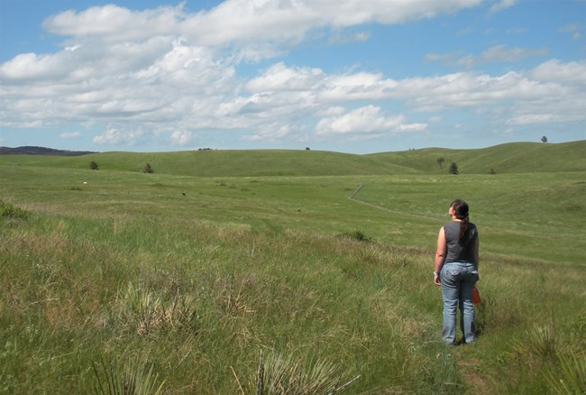 a woman standing on a trail in the open prairie looking at the sky