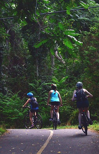 Three young people ride bicycles along a paved trail through woods.