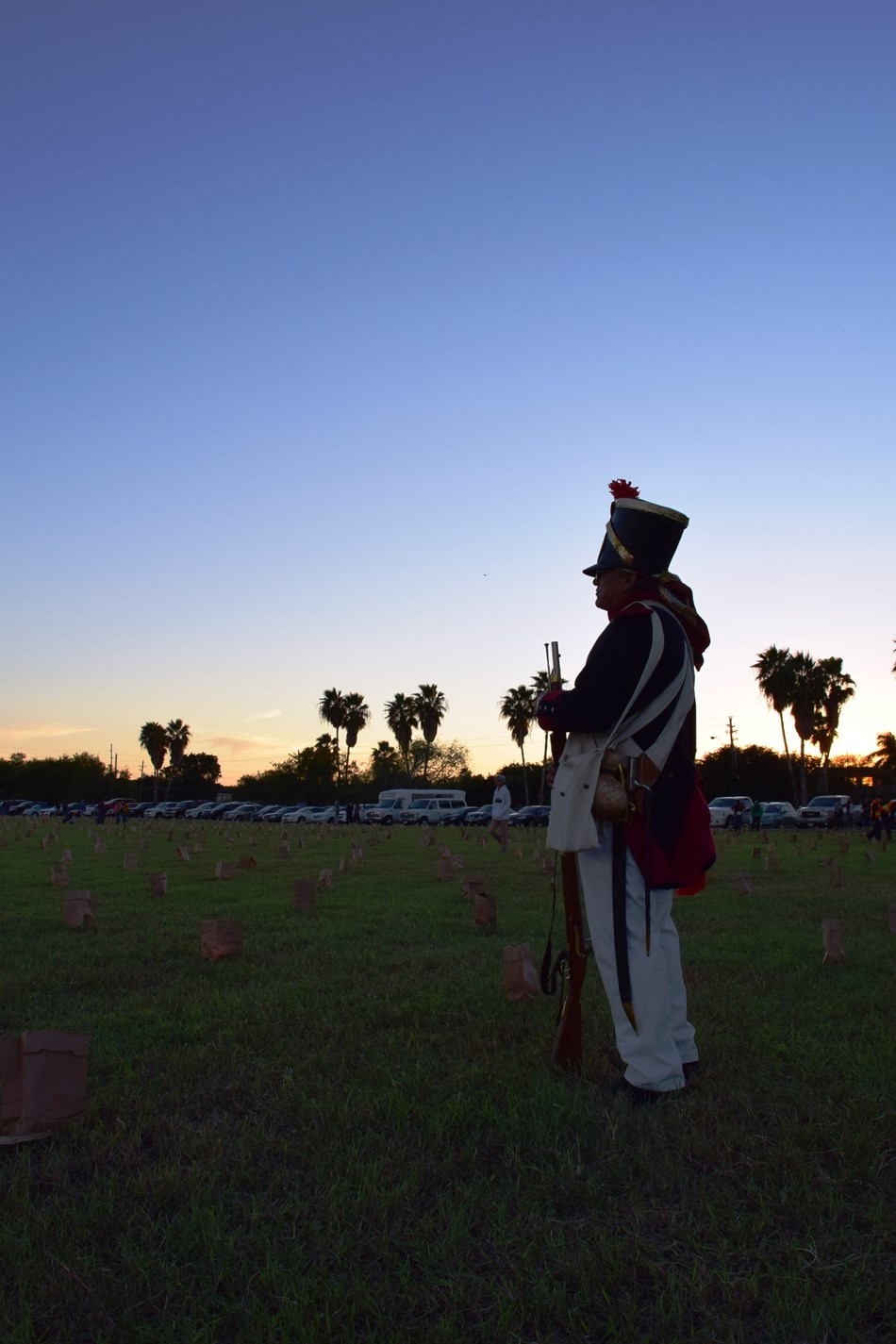 An evening shot of a volunteer in a Mexican War era Mexican Infantry uniform
