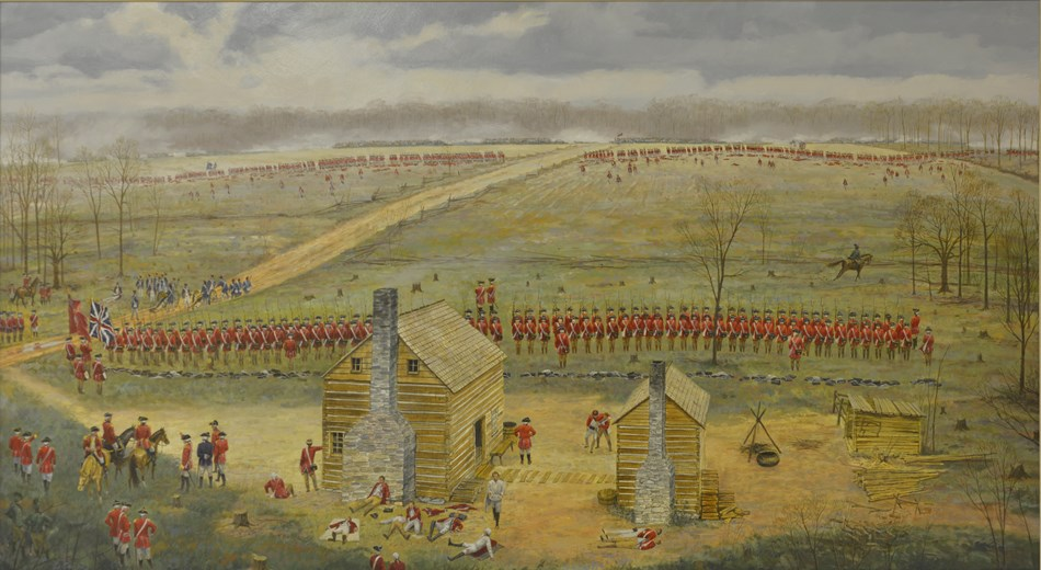 Painting of British soldiers in battle formation line in front of colonial home buildings.