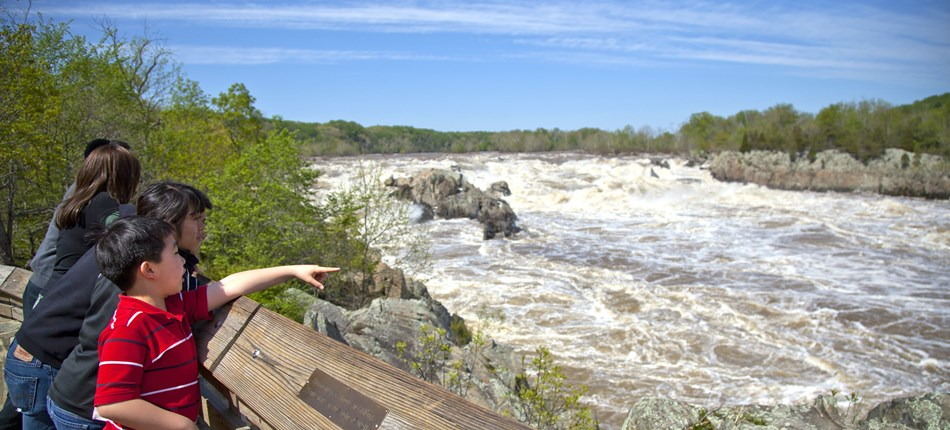 Visitors at an overlook in Great Falls Park.