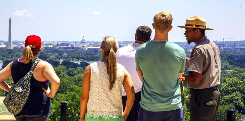 Visitors enjoy the view from Arlington House.