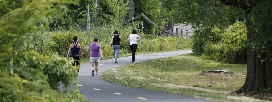 Four women walking in a wooded section of Mount Vernon Trail.