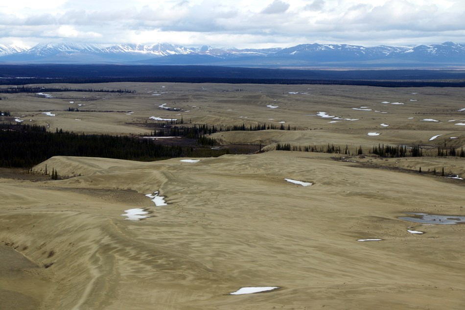 View of the sand dunes with snow patches and snow-capped mountains in the distance.