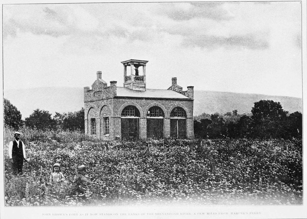 black and white photo of John Brown's Fort standing in a field on the Murphy Farm