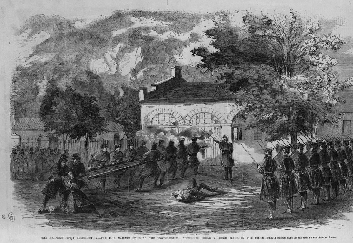 1859 sketch from a newspaper depicting Marines storming the engine house