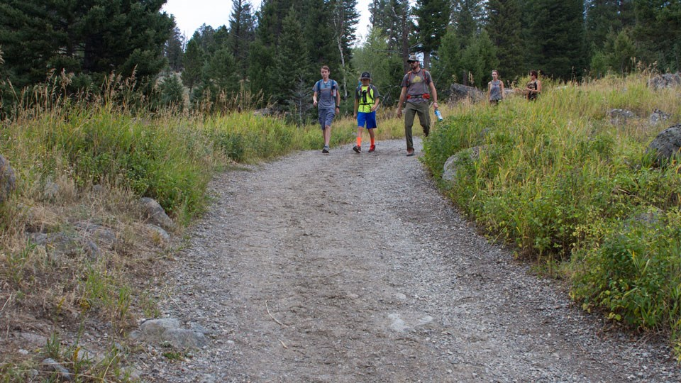 Hikers on Slough Creek Trail