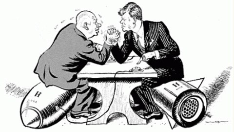 Political Cartoon of US and USSR leaders arm wrestling over nuclear weapons