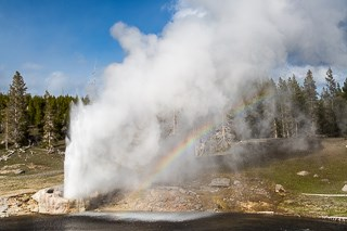 A geyser erupts by the side of a river.