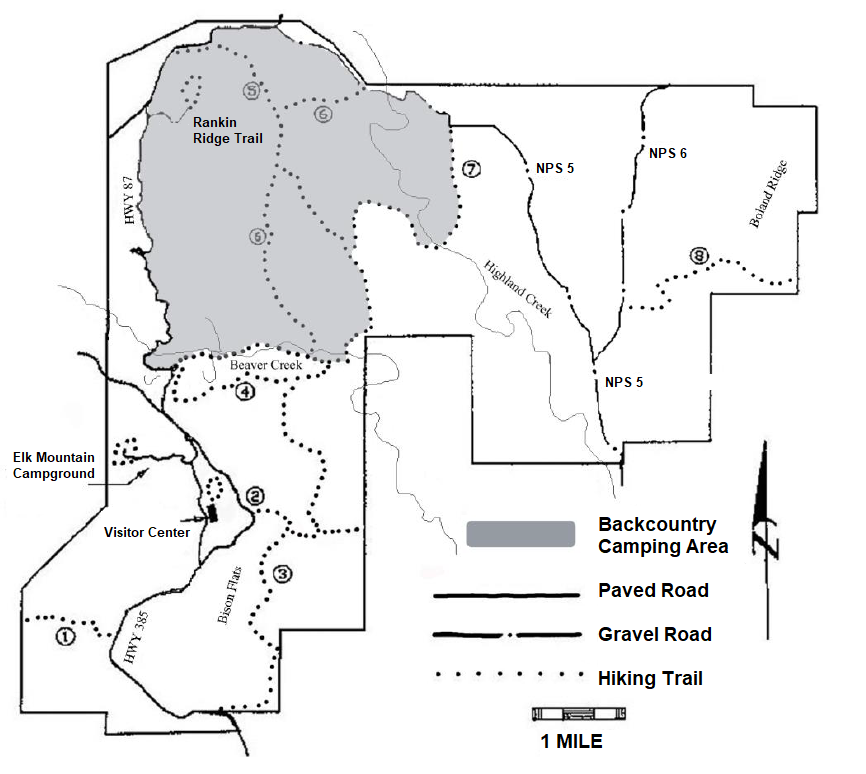a map of the park, the northwest corner is gray and marked for backcountry camping