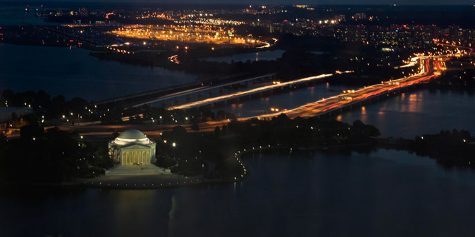 The Jefferson Memorial at night