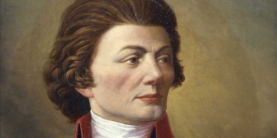 Detail of color portrait of Thaddeus Kosciuszko, showing his face and hair.