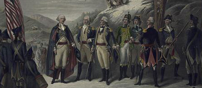 Color photo showing detail of print depicting General Washington standing next to American and European officers dressed in 18th century uniforms.