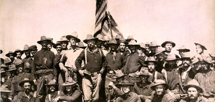 Theodore Roosevelt and his 'Rough Riders' regiment in July, 1898.