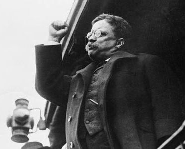 TR giving speech during 1912 campaign.