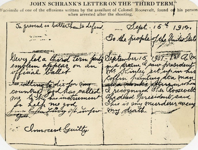 John Schrank's Letter on the 'Third Term'