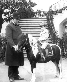 Quentin Roosevelt mounted on his pony, Algonquin.