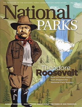 A caricature of T.R. by Johanna Goodman on the cover of National Parks Magazine.