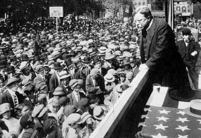 Theodore gives a campaign speech in 1912.