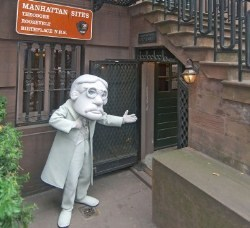 image of mascot at entrance of Theodore Roosevelt Birthplace