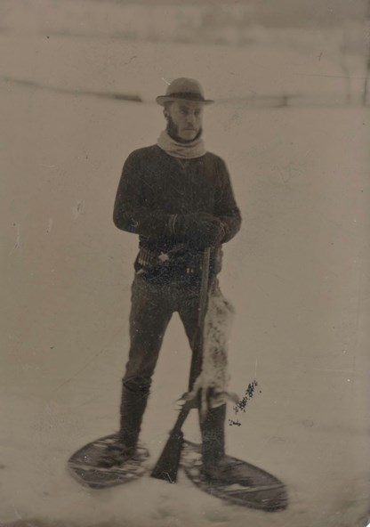 Theodore Roosevelt, snowshoeing in 1878.