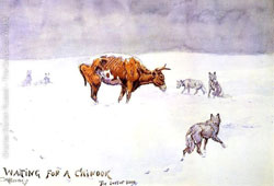 Painting depicting emaciated cow in winter